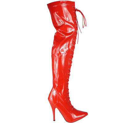 Ladies Women Thigh High Over The Knee Fetish Boots Front Lace Stiletto Heel Size