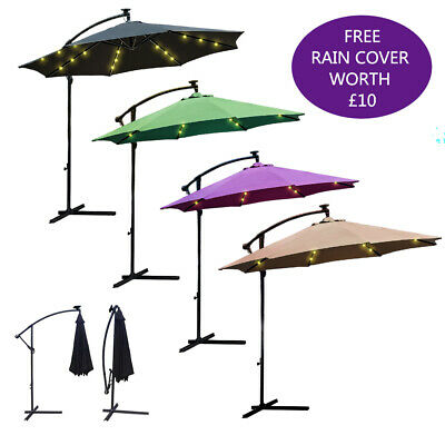 24LED 3M Outdoor Parasol SunShade Solar Patio Banana Cantilever Hanging Umbrella