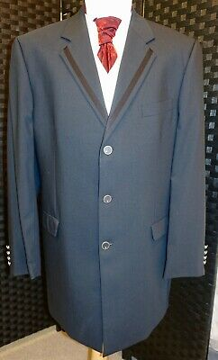 Mens Navy Luxury Designer Prince Edward Jacket Ex-Hire Formal Wedding Punk
