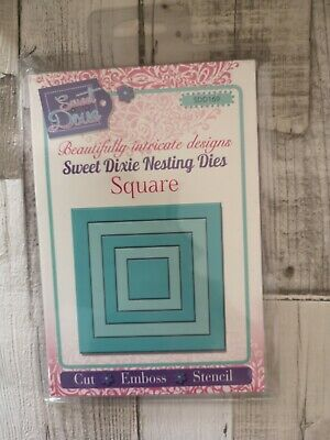 Sweet Dixie Cutting Die Set NESTING  SQUARE  set of 5 dies Cut Emboss Stencil