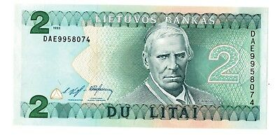 LITHUANIA 2 LITAI Banknote 1993 UNC
