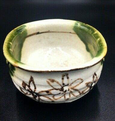 Vintage Japanese Hand-painted Pottery Tea bowl of Oribe Ware