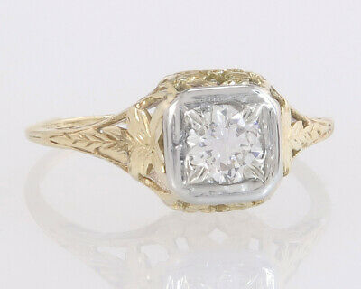 Antique GIA Certified .61ct Diamond 14K Gold Flowers Art Deco Engagement Ring