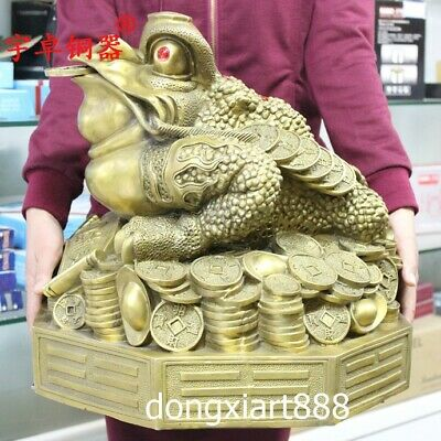 43 cm Pure Brass Chinese Fengshui Animal three Leg Money toad bufonid Statue