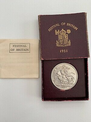 1951 Festival of Britain George VI five shilling crown coin in red case