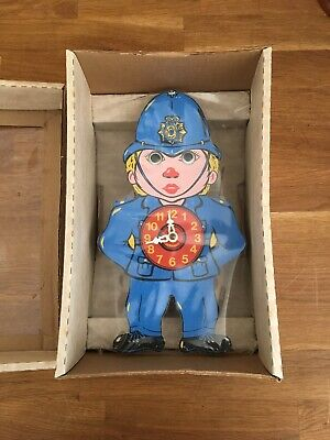 Vintage Wooden Policeman Clock With Moving Eyes , Still Sealed
