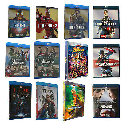 Marvel Movies Lot  Blu-ray:Avengers&Thor & Guardians Galaxy & Captain & Iron man