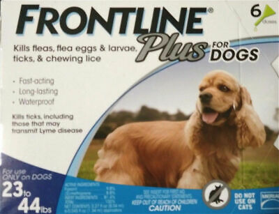 Merial Frontline Plus for Dogs (23 - 44 Lbs) (6 Pack) 6 Doses, 6 Months Supply!