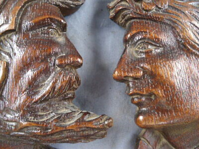 Two Rare Small 19Th Century Oak Carved Silhouette Faces Furniture Mounts