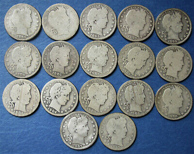 Early Date Barber Quarters, Seventeen of Them from an  Album