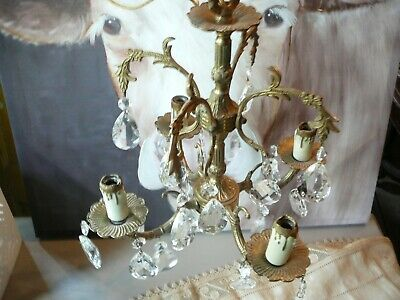 Vintage PETITE CHANDELIER Brass and Crystal
