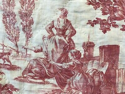 Beautiful Antique c1800 French Toile de jouy Valance handquilted panel 110/60cms