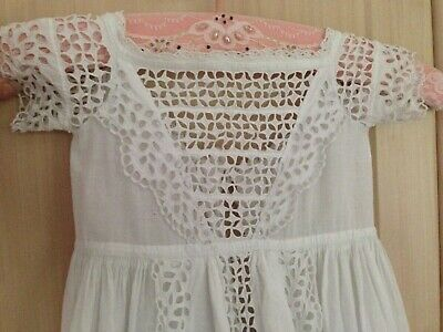 Antique hand made long christening gown cotton cutwork embroidery