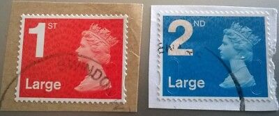 2 Used Gb 1St 2Nd Large Letter Security Machin 2016 Stamps M16L Mail Sg U3000/2