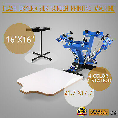 4 Color 1 Station Silk Screen Printing 16x16 Kit Flash Dryer Garment T-Shirt DIY