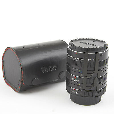 VIVITAR AUTO EXTENSION TUBE SET FOR MINOLTA MC CAMERAS 12, 20 & 36mm With Case