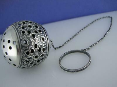 Sterling WALLACE Tea Ball ~ ornate Floral Repousse