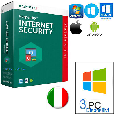 Kaspersky Internet Security 2019 3Pc Originale 365Giorni-Invio Solo Per Email