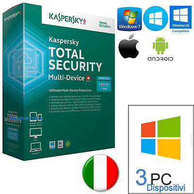 Kaspersky Total Security Multidevice X3 2019 1Anno  Originale / Invio Per Email