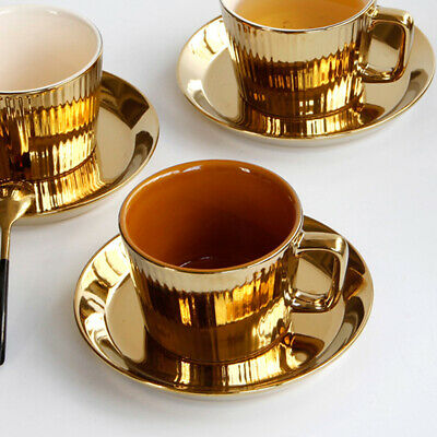 European-style Gold Plated Tea/Coffee Cup &Saucer Set Porcelain Espresso Cup