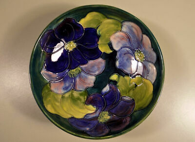 """William Moorcroft Pottery Clematis footed bowl with sticker 8 3/8"""" NICE!"""