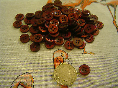 100 Maroon 4 hole buttons 10mm Sewing Craft Card Scrapbook