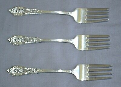 Three Wallace Rose Point Sterling Silver Salad Forks