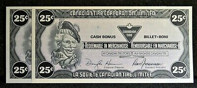 Canadian Tire Money Consecutive Pair 25 cent Notes CTCS-D1 in Gem UNC Condition