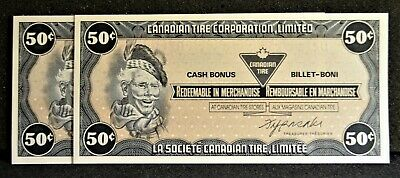 Canadian Tire Money Consecutive Pair 50 cent Notes CTCS-6E in Gem UNC Condition
