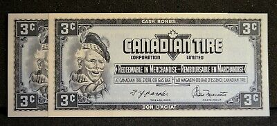 Canadian Tire Money Consecutive Pair 3 cent Notes CTCS-12A in Gem UNC Condition