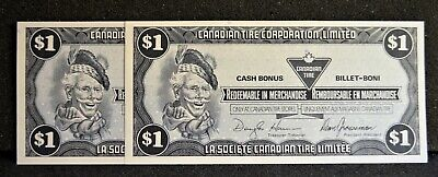 Canadian Tire Money Consecutive Pair $1 Notes CTCS-9F in Gem UNC Condition