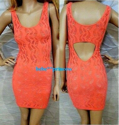 NWT bebe M / L coral pink overlay lace slash back cutout bodycon  top dress