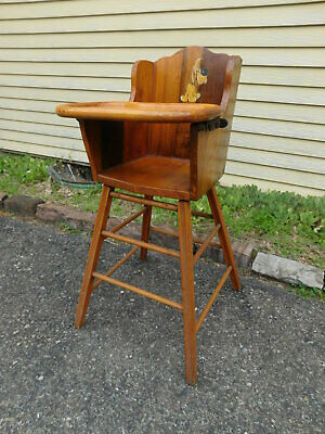 1950 Great Grandpa Made Solid Wood High Chair with Adj Maple Tray & Disney Decal