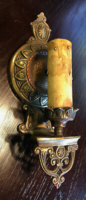 Antique Art Nouveau Era Cast Brass ?  Wall Sconce Fixture Ornate Candle Electric