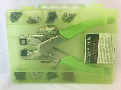 Crop-A-Dile Punch Kit Eyelet Setter Hole We R Memory Keepers Set Green Case XTRA