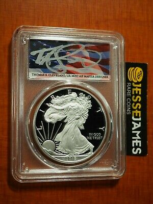 2019 W Proof Silver Eagle Pcgs Pr70 Flag Cleveland Congratulations Set Fdi Fun