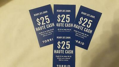 Torrid Haute Cash 4 Coupons $25 off $50 ($100 off $200) Valid July 10-21