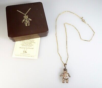 Vintage 1983 Steiff Sterling Silver Teddy Bear Pendant Necklace -  56361