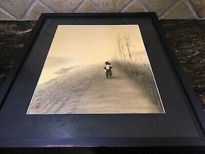 Rare Signed ANTIQUE JAPANESE WOODBLOCK? PRINT Two Boys In The Mist On The Road