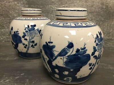 Pair Vintage Chinese Ginger Blue and White Jars