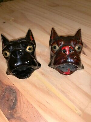 Pair Of Vintage Redware FRENCH BULLDOG Ashtrays, One Black, One Brown!