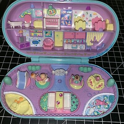 Vintage 1992 POLLY POCKET Stamping Set Baby Playground Daycare BluebIrd