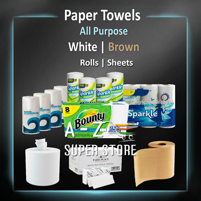 Paper Towels Rolls 1 to 24 Roll Rags Wipes Sheets White or Brown Home Packs lot