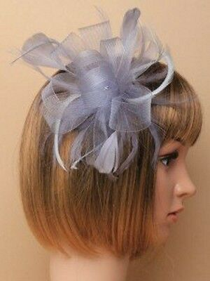 Grey Looped Net Ribbon & Feather Fascinator on Clear Comb