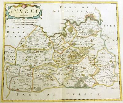 1695 Original Antique Map of SURREY by Robert Morden 1st Issue COLOUR