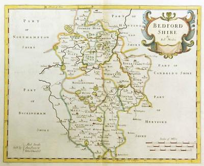1695 Original Antique Map BEDFORDSHIRE by Robert Morden RARE 1st Issue COLOUR