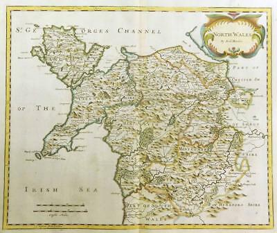 1695 Original Antique Map NORTH WALES Robert Morden RARE 1st Issue COLOUR