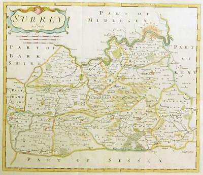 1695 Original Antique Map SURREY by Robert Morden RARE 1st Issue COLOUR