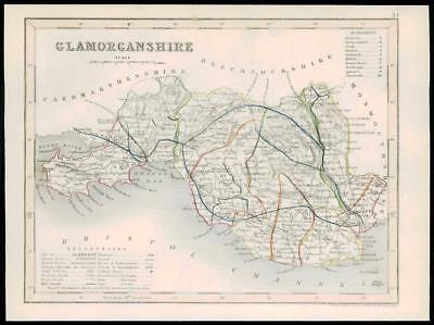 """1855 - Original antique map of """"GLAMORGANSHIRE"""" WALES by JOSHUA ARCHER (20)"""