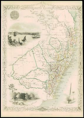 1850 Original Illustrated Antique Map by Tallis NEW SOUTH WALES Australia (d151)